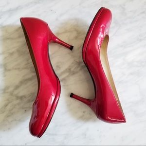 Stuart Weitzman Red Patent Leather Heel Pumps